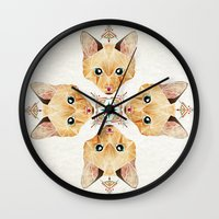 kitten Wall Clocks featuring kitten by Manoou