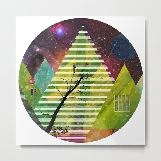 Wonder Wood Dream Forest Pyramids · Crop Circle Metal Print