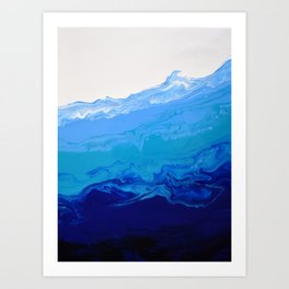 High Tide Blue Turquoise Water Fluid Abstract Art Print