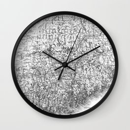 Vintage Map of Maine (1894) BW Wall Clock