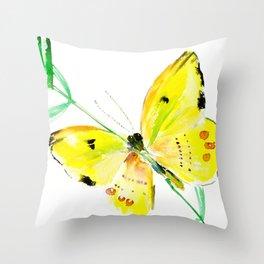 Yellow Butterfly, children butterfly decor kids room, girls room yellow decor butterfly art Throw Pillow