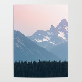 Pink Cascades - Mountain Nature Landscape Photography Poster