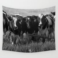 cows Wall Tapestries featuring Cows by Julia Lake Art Designs