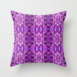 Violet Purple White Flower Pattern Throw Pillow