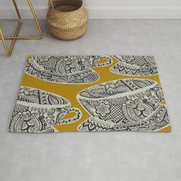 Morning Cuppa! - tea coffee lover zentangle Rug