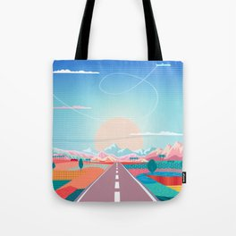 Summer Road trip to Rocky Mountains Adventures in Nature, car blue sky land airplane rural landscape Tote Bag