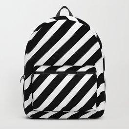 Black and White Diagonal Stripes Backpack