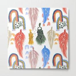 Macrame Feathers + Rainbows Metal Print