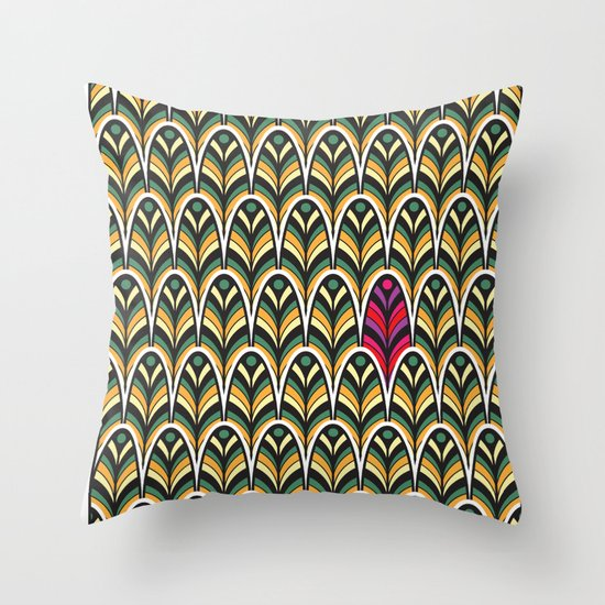 Rubine Feather Throw Pillow