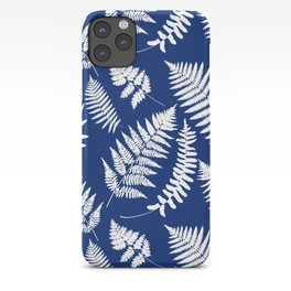 Woodland Fern Pattern, Cobalt Blue and White iPhone Case