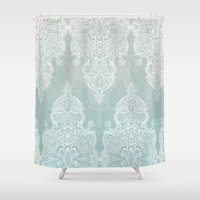 lace Shower Curtains featuring Lace & Shadows - soft sage grey & white Moroccan doodle by micklyn