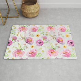 Delicate Poppy Pattern On White Background Rug