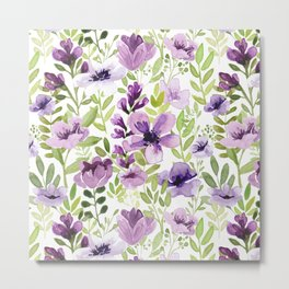 Watercolor/Ink Purple Floral Painting Metal Print
