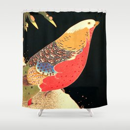 Golden Pheasant in the Snow - Japanese Vintage Woodblock Painting Shower Curtain