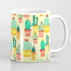 Hello! Colorful Watercolor Cactus and Succulent in Patterned Planters Mug