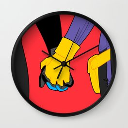 Hand Holding in Gotham Wall Clock