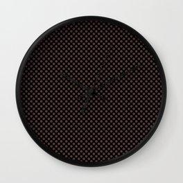 Black and Deep Mahogany Polka Dots Wall Clock