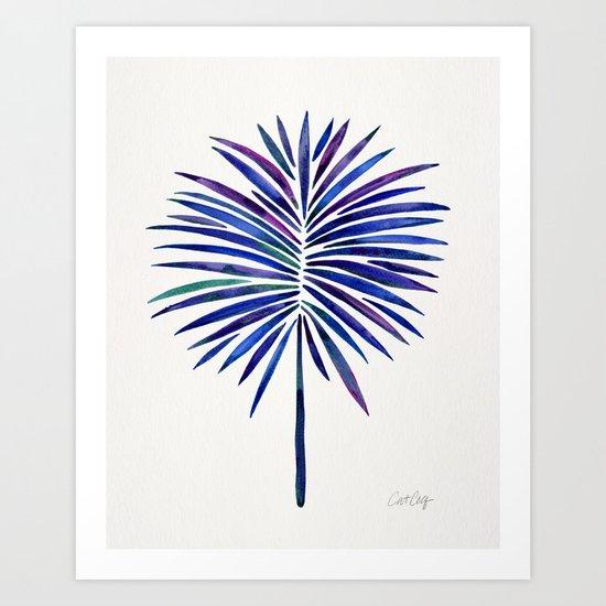 Tropical Fan Palm – Indigo Art Print