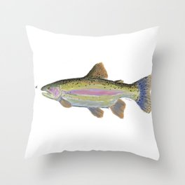 Rainbow Trout & Fly Throw Pillow