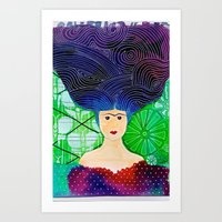 frida khalo Art Prints featuring Frida mar by Soraya Sus & Family Designs