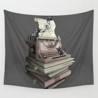 bookworm Wall Tapestries featuring Bookworm by BlancaJP