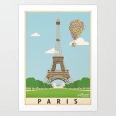 Disney's Pixar UP Paris / Eiffel Tower - Travel Poster Art Print