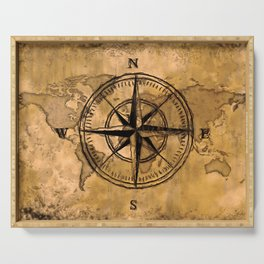 Destinations - Compass Rose and World Map Serving Tray