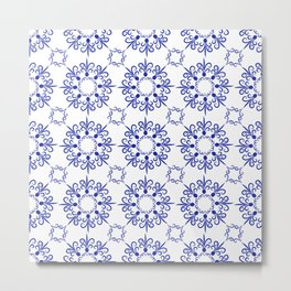 Floral ornament in dark blue Metal Print