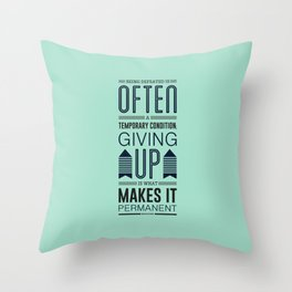 Lab No. 4 Being defeated is often a temporary condition Marilyn vos savant Quote poster Throw Pillow