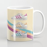 sneakers Mugs featuring My old Sneakers by Crazy Cool Animals