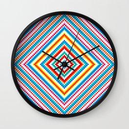 Simple Rainbow Chakra Mandala - Colorful - Romb - Folk Geometry  Wall Clock