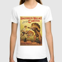 Hagenbeck Wallace Circus - Clyde Beatty Lion Tamer Vintage Poster T-shirt