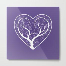 Ultraviolet Love Grows, heart shaped tree Metal Print