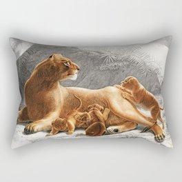 The Lion Pride Sketch Safari Jungle to the Moon  Rectangular Pillow