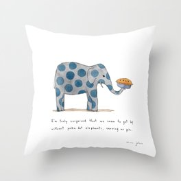 polka dot elephants serving us pie Throw Pillow