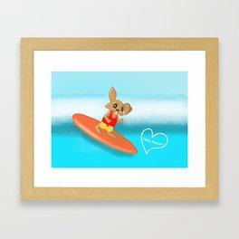 Easter Bunny Goes Surfing Framed Art Print