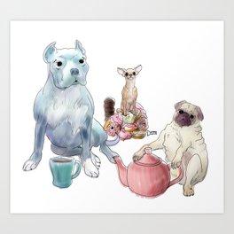 The pitbull pug and chi sat down for some tea Art Print