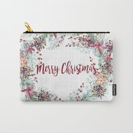 Xmas Wreath White Carry-All Pouch