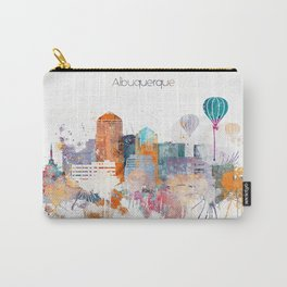 Colorful Albuquerque watercolor skyline Carry-All Pouch