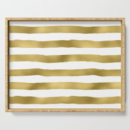 Simply luxury Gold stripes on clear white - horizontal pattern Serving Tray
