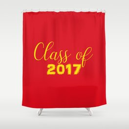 2017 Grads - Red and Yellow Shower Curtain