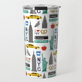 NYC travel pattern fun kids decor boys and girls nursery new york city theme Travel Mug