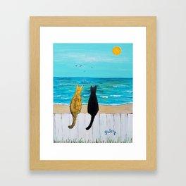 Seaside Cats Framed Art Print