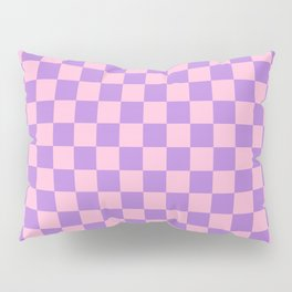 Cotton Candy Pink and Lavender Violet Checkerboard Pillow Sham
