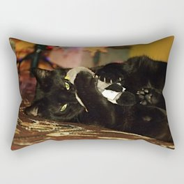 A new plush duck attacked by black cat Violka Rectangular Pillow