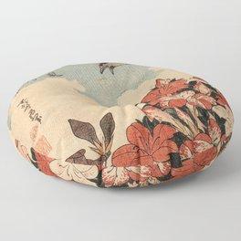 Hokusai Cuckoo and azaleas -hokusai,manga,japan,Katsushika,cuckoo,azaleas,Rhododendron Floor Pillow