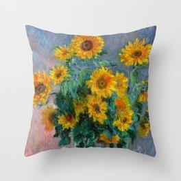 Bouquet of Sunflowers - Claude Monet Throw Pillow