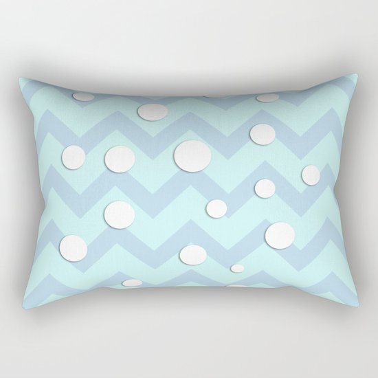 Light blue white Chevron pattern with Snow Circles Rectangular Pillow