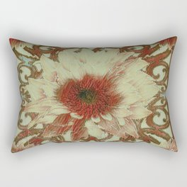 Grungy Floral Rustic Cream-Brown  Abstract Rectangular Pillow