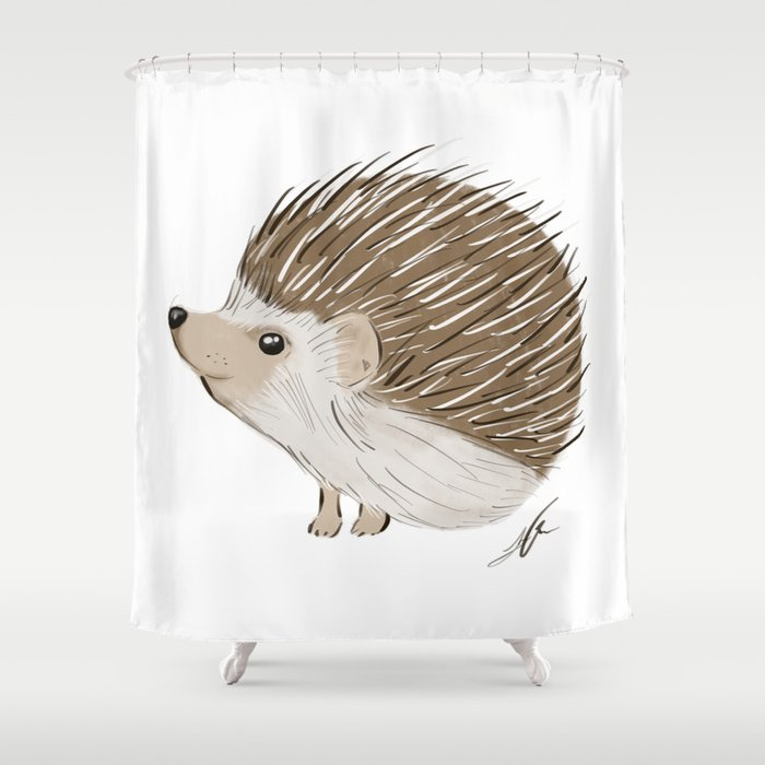 Hedgehog Shower Curtain By Leahowen